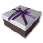 กล่องของขวัญ สีขาว-น้ำตาล คาดโบว์สีม่วง